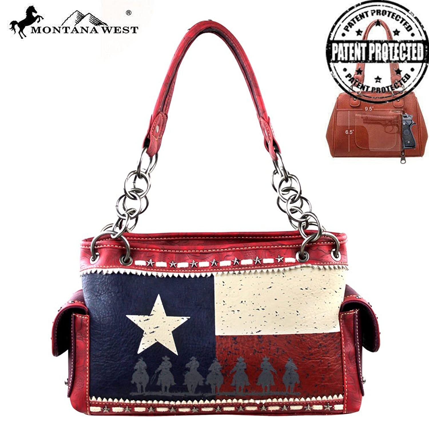 Montana West Texas Pride Collection Concealed Carry Handbag Red Mw219g-8085