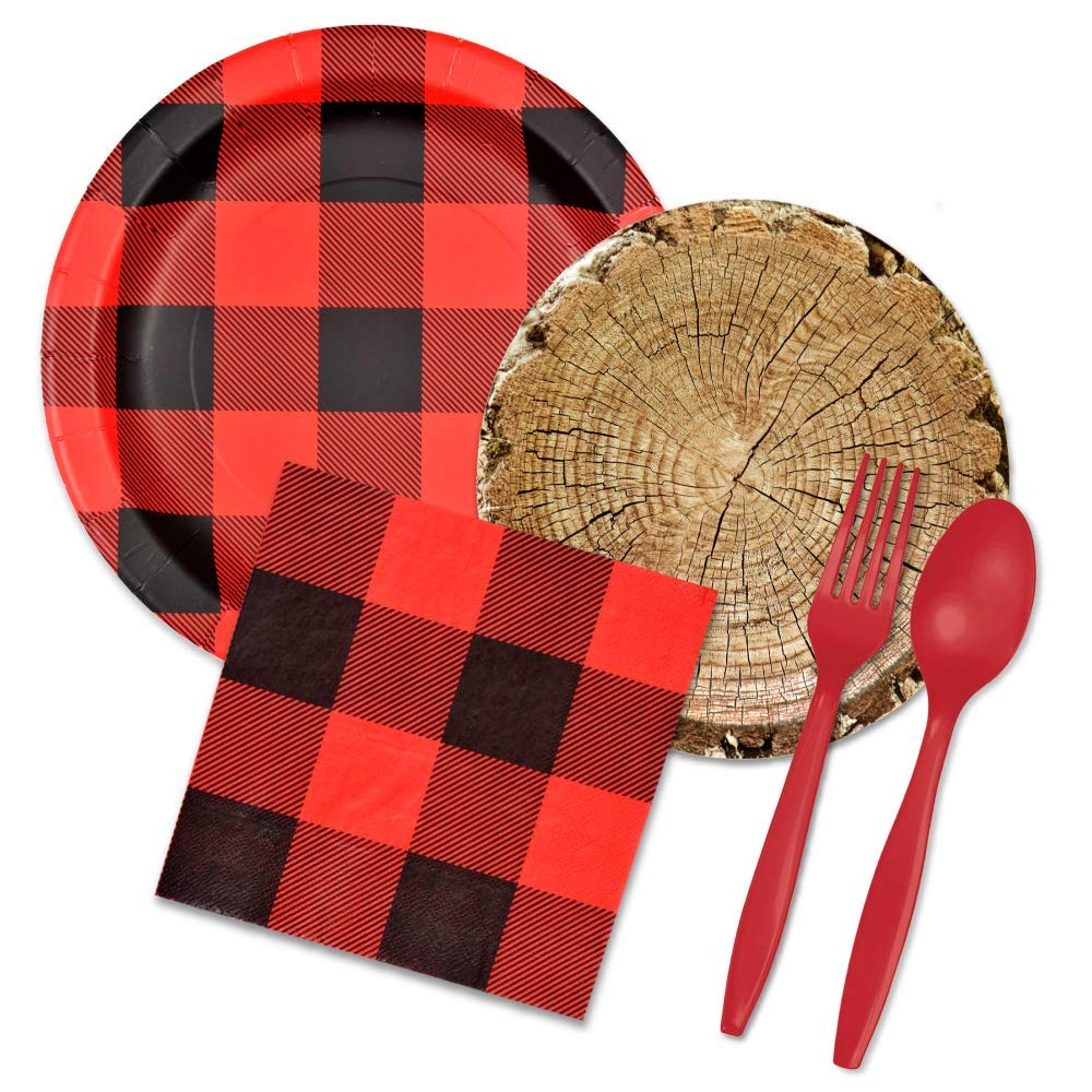 Lumberjack Party Supplies Set - Buffalo Plaid & Timber Cut Paper Plates, Napkins, Forks, Spoons