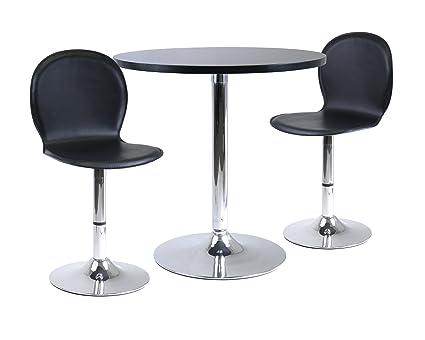 Winsome Wood Spectrum Dining Table Set, 3 Piece, Black/Chrome