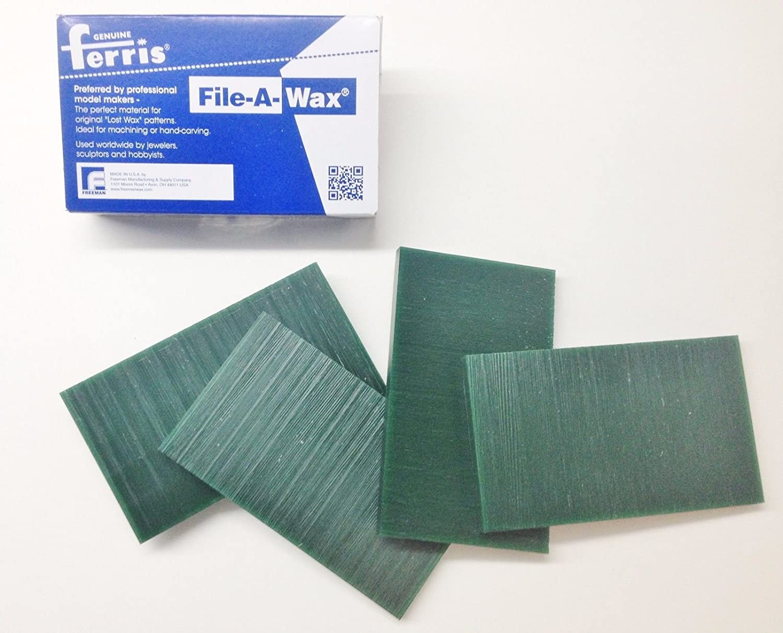 Wax Carving Tablets 9.5mm/3/8 Thick 4 Bars 6x3-5/8 Ferris Green Hard 1lb Box