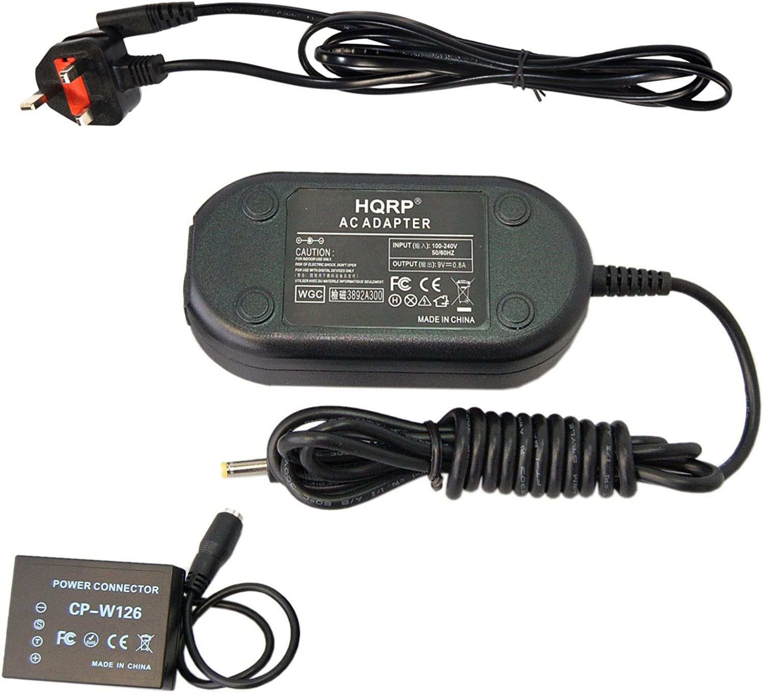 HQRP Kit AC Power Adapter and DC Coupler for Fujifilm AC-9V CP-W126 Replacement X-E2 X-E2S X-Pro2 X-T10 Digital Camera