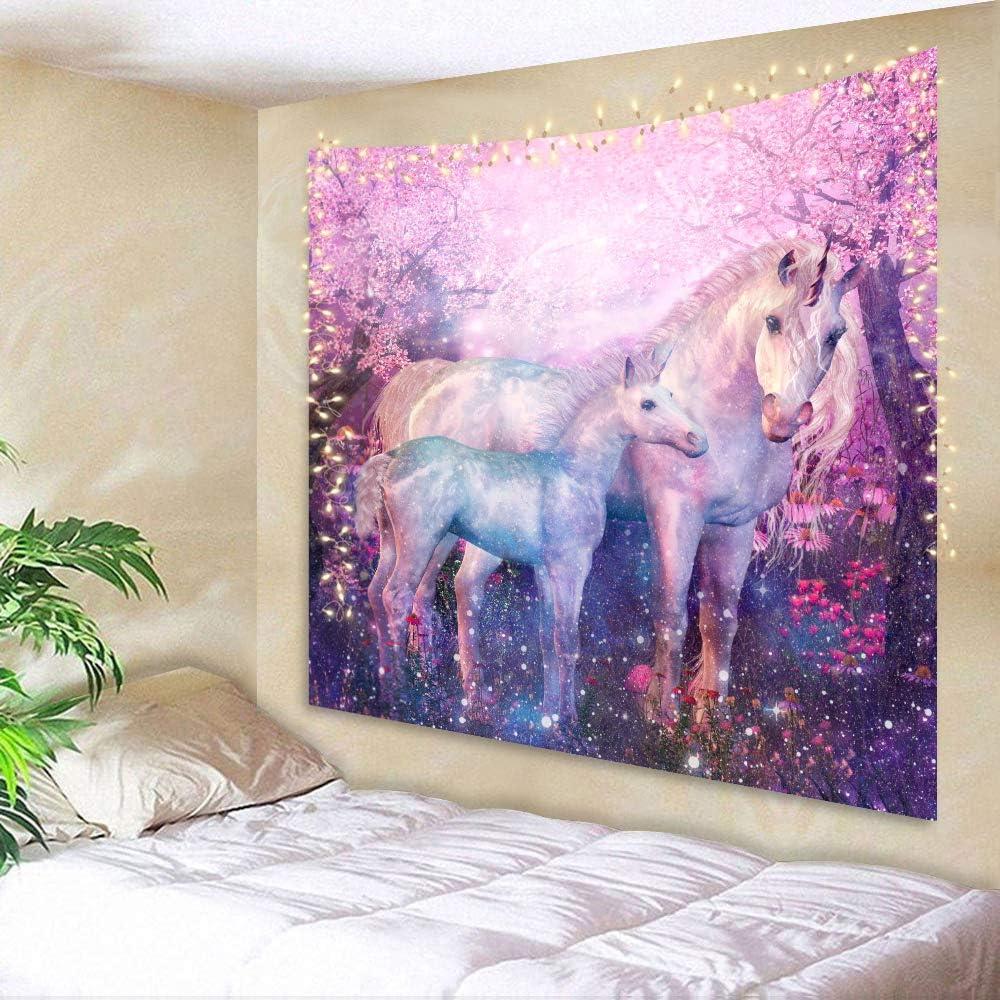 AMBZEK Unicorn Tapestry Girls Kids 51Hx59W Inch Hippie Animals Cartoon Poster Fantasy Forest Psychedelic Purple Art Wall Hanging Bedroom Living Room Dorm Decor Fabric