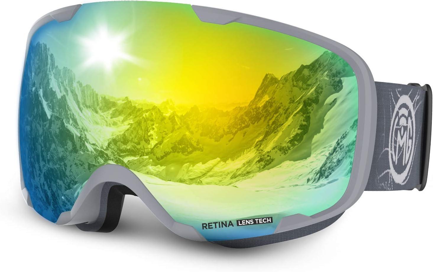 LEMEGO Gafas de Esquí, Antivaho Máscara de Esquí Lentes Esféricas Dobles Gafas de Snowboard UV400 Protección OTG Ski Goggles Casco Compatible para ...