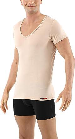 ALBERT KREUZ Mens Invisible deep v-Neck Business Undershirt with Short Sleeves Micromodal Light Nude Beige
