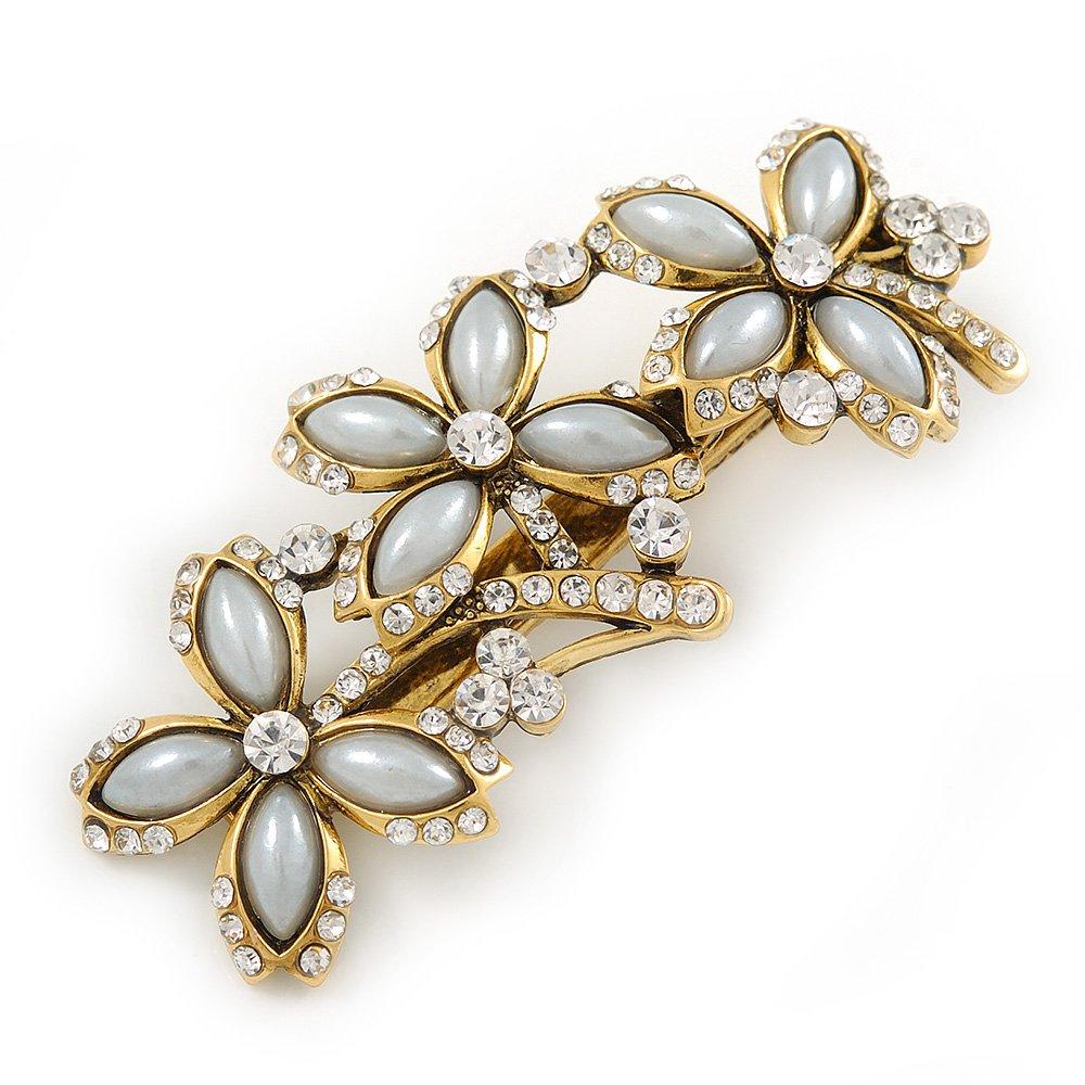 Inspiration vintage Triple Fleur Cristal, fausse perle Cheveux Pince bec/Concord Clip en ton doré antique–70mm L Avalaya