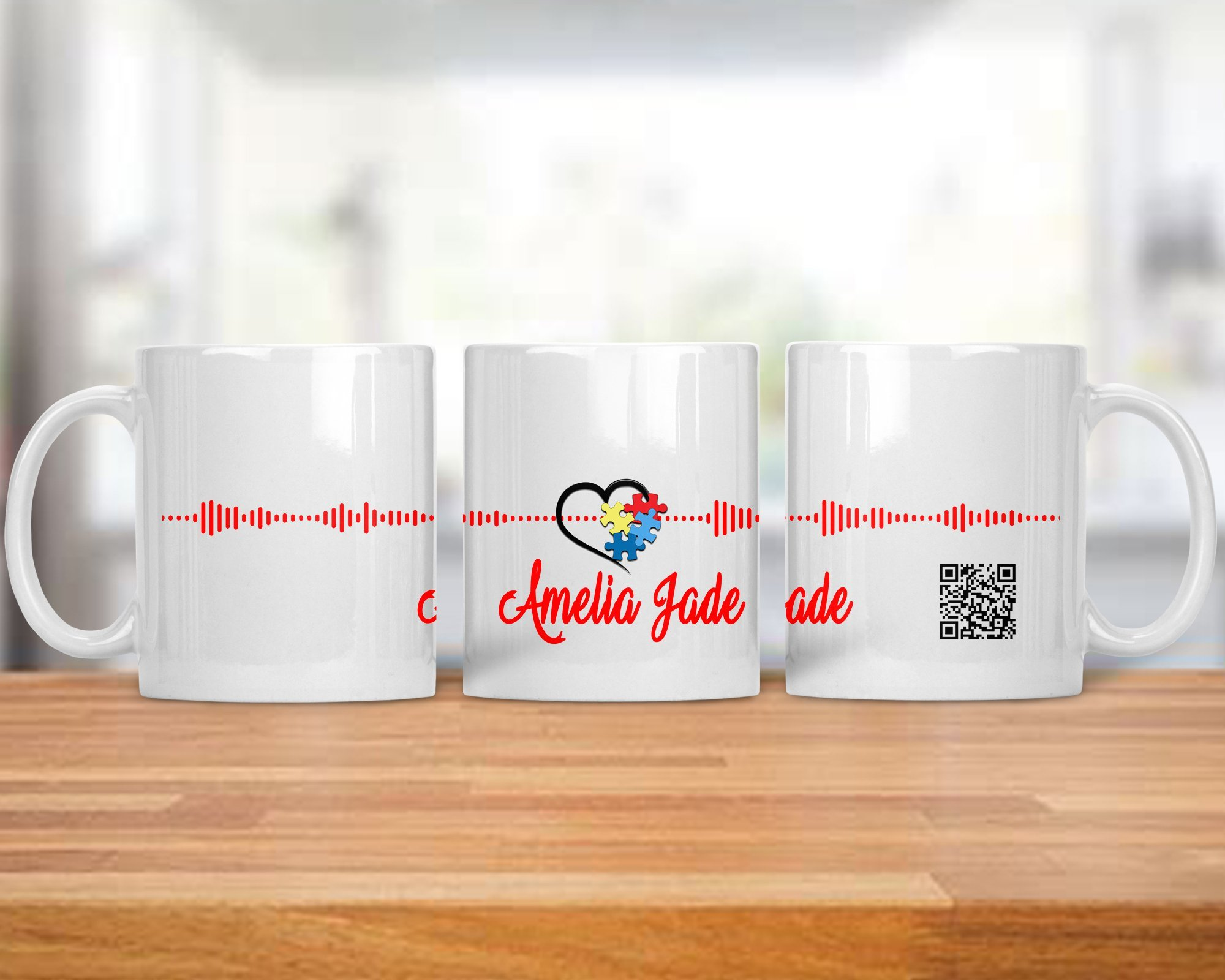 Autism Awareness Soundwave QR Mug Hear a Sample