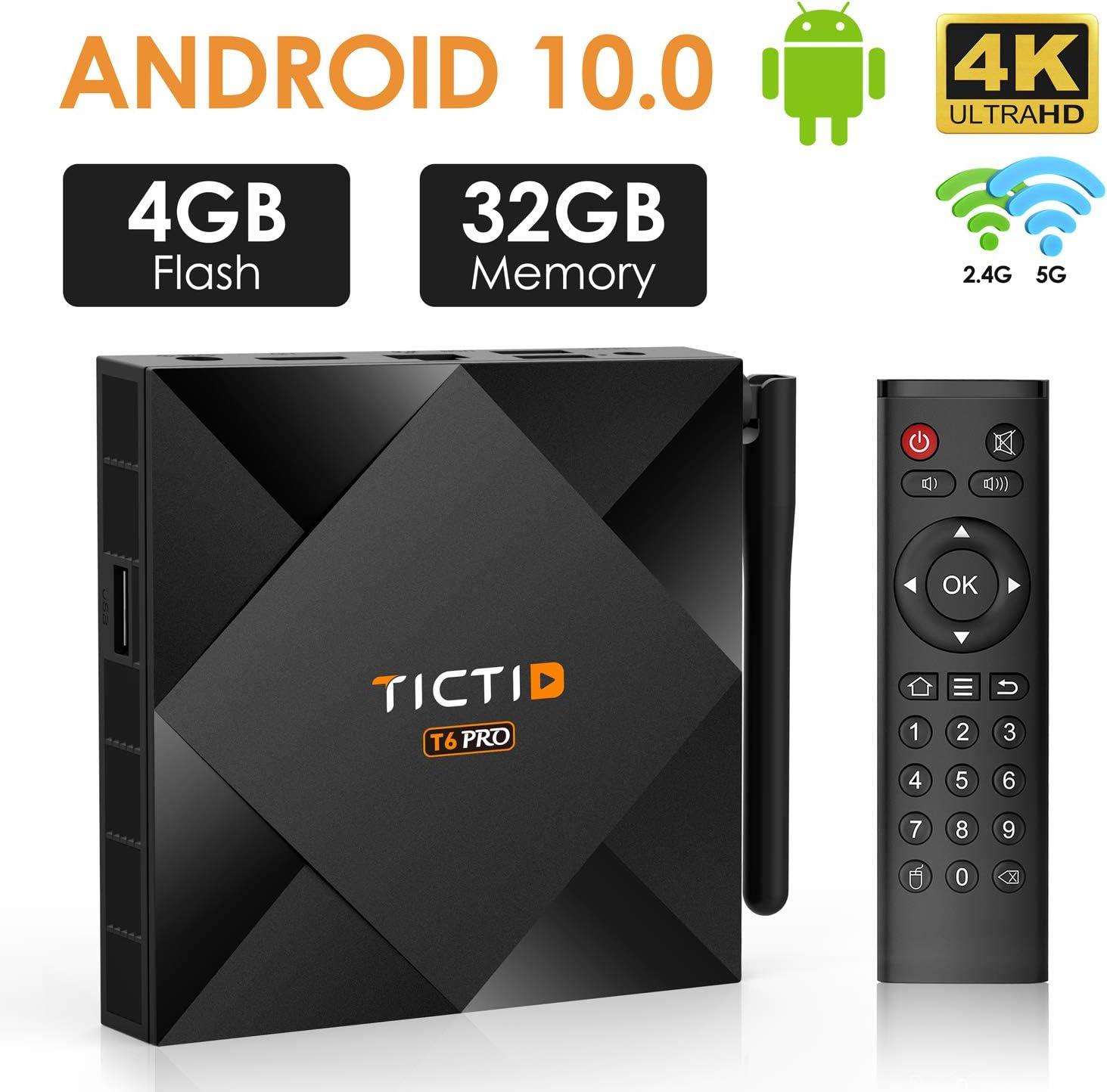 Caja de TV Android 10.0 【4G+32G】, TICTID T6 Pro H616 64 bits Quad Core Arm Cortex A53, CPU 100M LAN, Wi-Fi-Dual 5G/2.4G, BT 4.0, 4K2K Smart TV Box: Amazon.es: Electrónica