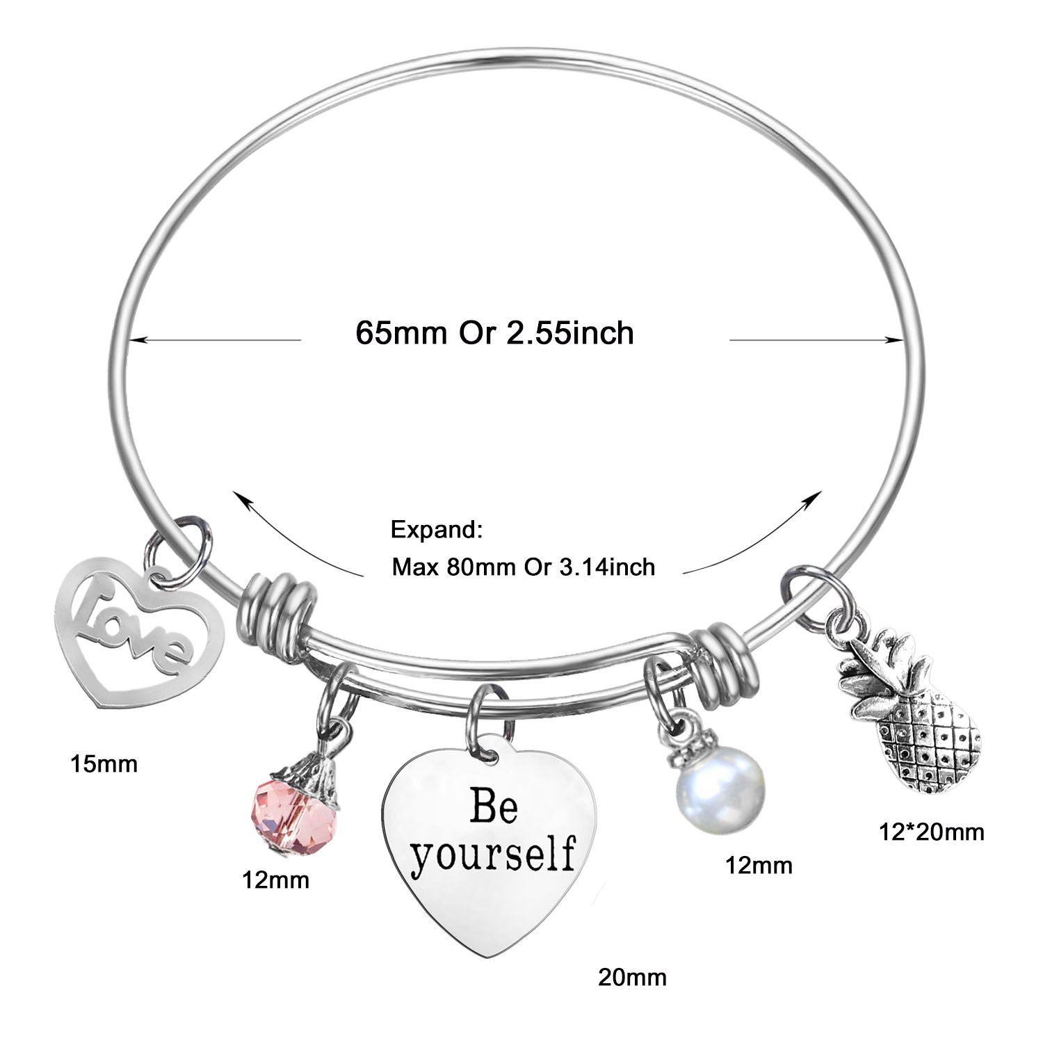SOOFUN Birthday Gifts for Women Girls,Be Yourself Inspirational Bangle Bracelet
