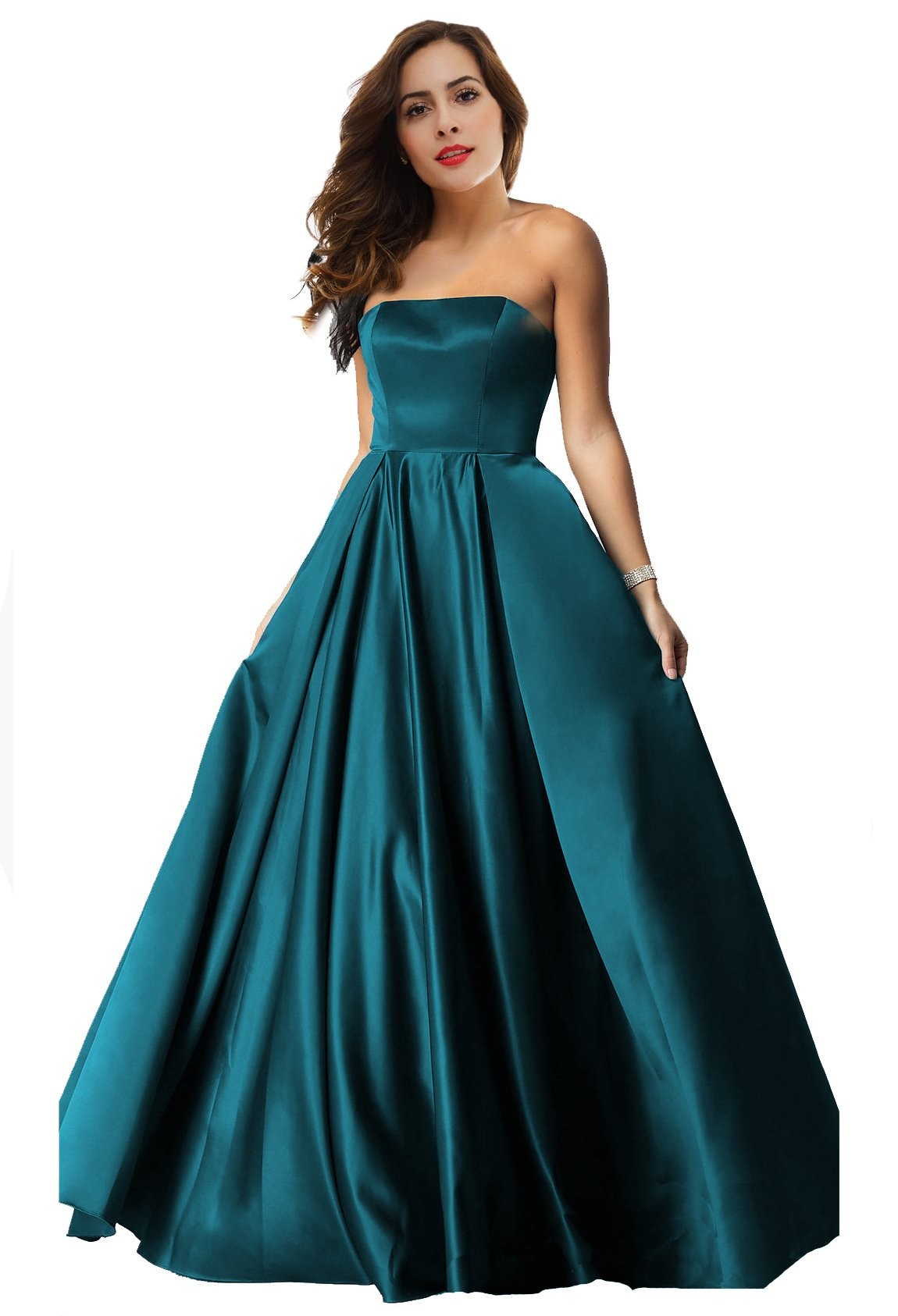 633d844594 Lily Wedding Womens Aline Satin Prom Dresses 2018 Long Sweetheart Formal  Evening Ball Gowns D59 Teal Size 6