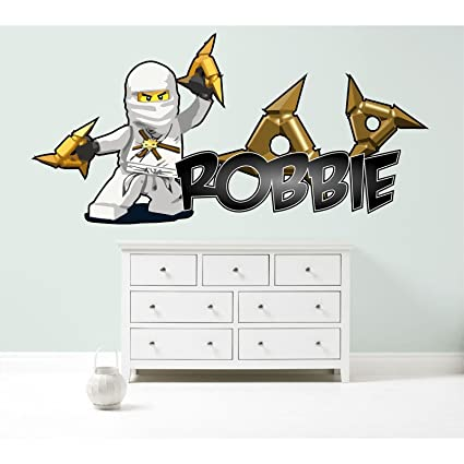 Groovy Lego Ninjago Zane Personalized Customized Childrens Wall Sticker Decal Art Mural Bedroom 3 Size Options Medium 100Cm Wide Download Free Architecture Designs Scobabritishbridgeorg