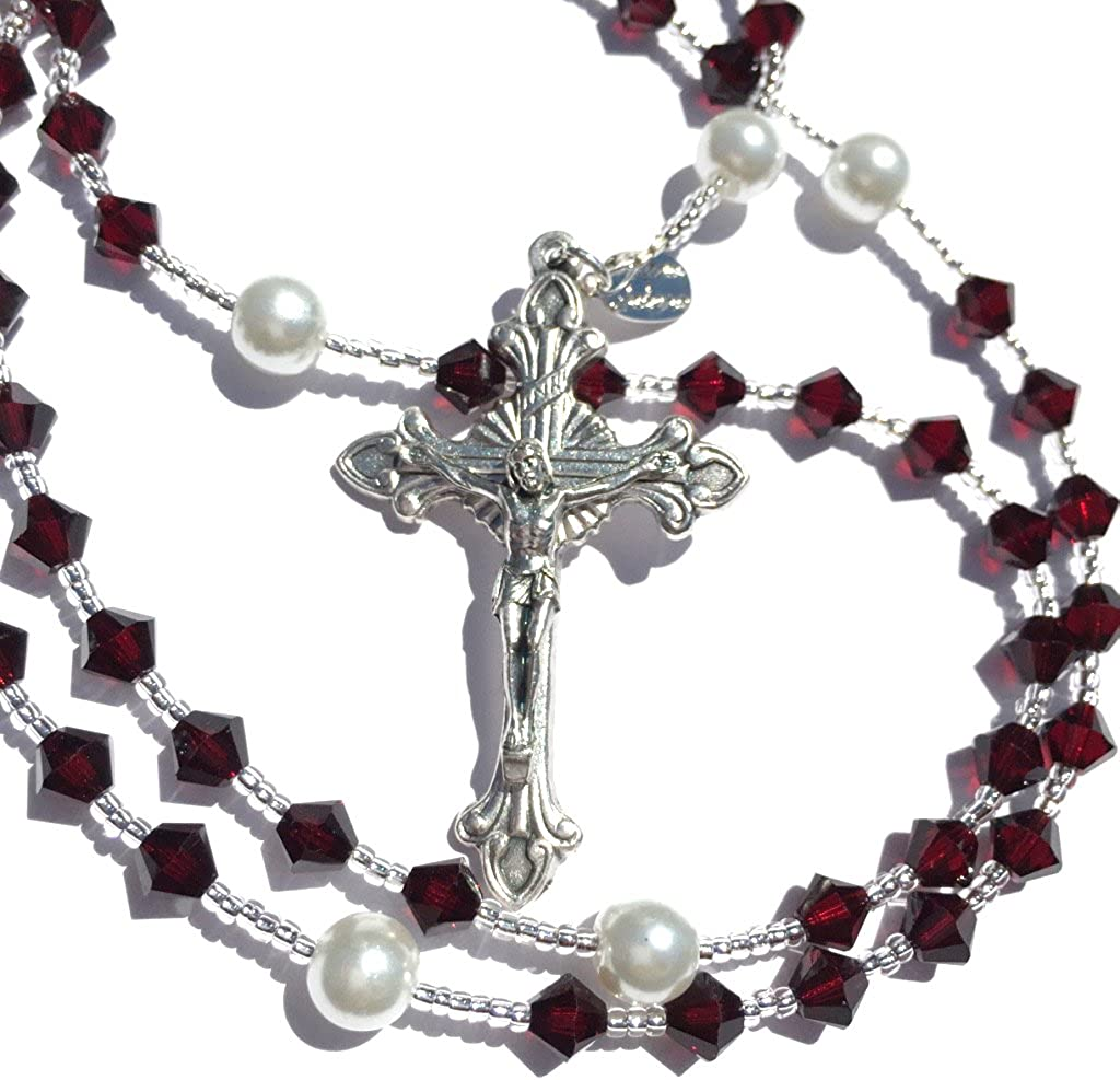 Birthstone Catholic Prayer Rosary Beads Fresno Mall Max 40% OFF Genuine with Made Crysta