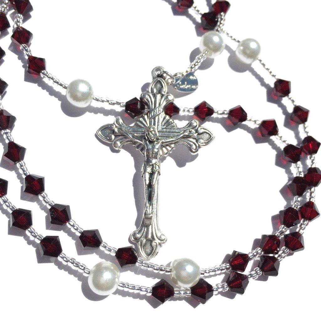 Rana Jabero Garnet (January Birthstone) Swarovski Crystal and Glass Pearl Catholic Prayer Rosary