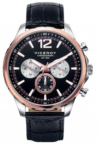 Viceroy Reloj Multiesfera para Hombre de Cuarzo con Correa en Cuero 401007-55: Amazon.es: Relojes