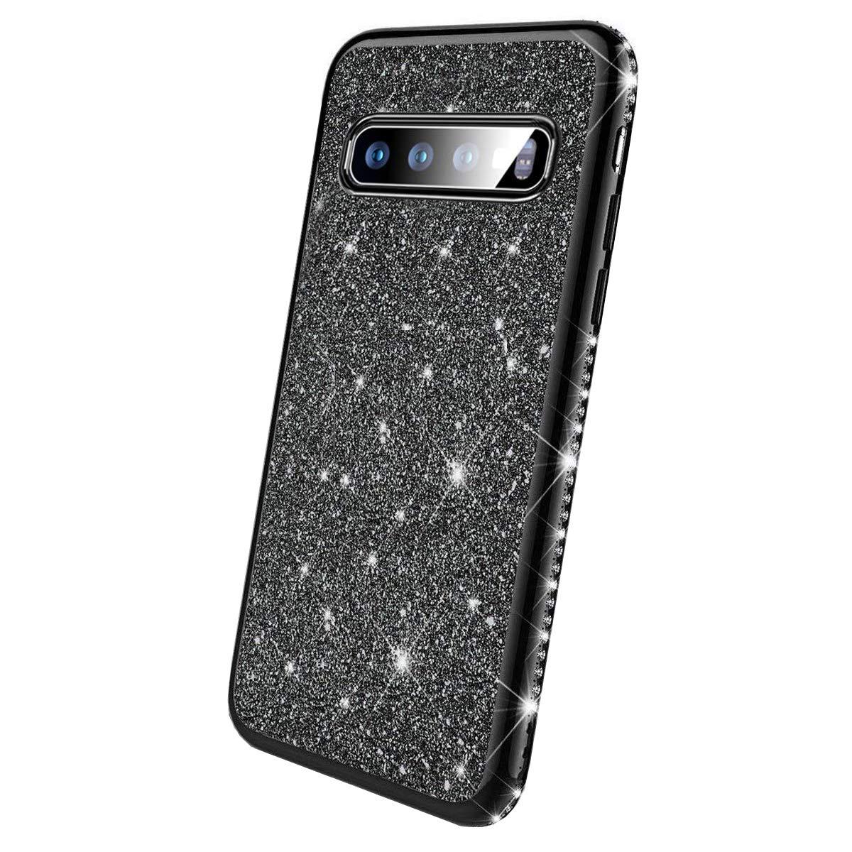 Karomenic kompatibel mit Samsung Galaxy S10 Plus Silikon H/ülle Gl/änzend Bling Glitzer Schutzh/ülle Weiche TPU Handyh/ülle Diamant D/ünn Slim Bumper Tasche Case Cover f/ür Frauen M/ädchen,Silber