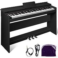 Happybuy White/Black Digital Piano 88-Key Electric Piano Keyboard w/Pedal Board
