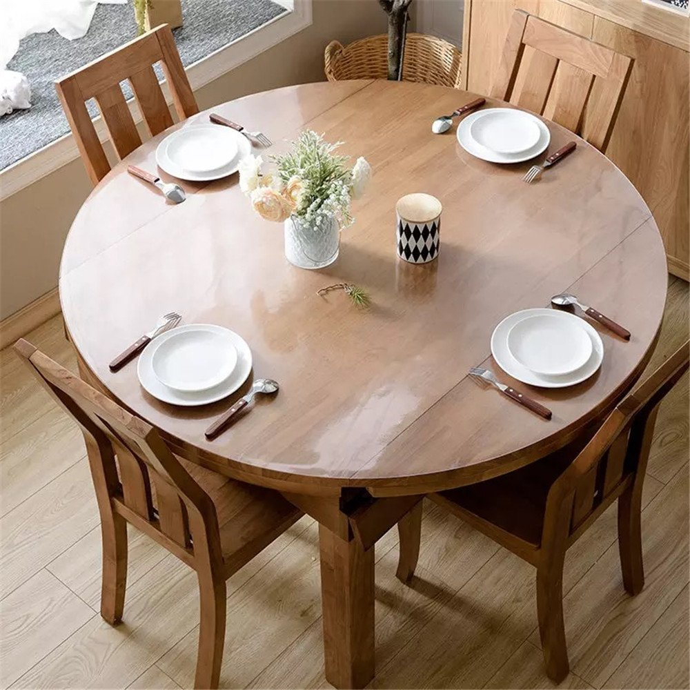 OstepDecor Custom 1.5mm Thick Crystal Clear Table Top Protector Plastic Tablecloth Kitchen Dining Room Wood Furniture Protective Cover Pad | Round Dia. 36 Inches by OstepDecor (Image #2)