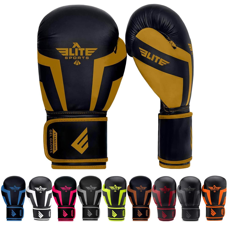(エリートスポーツ) Elite Sports 標準ボクシング、キックボクシング、タイ式スパーリングトレーニング手袋 B07GDNKG4C ゴールド 12 oz