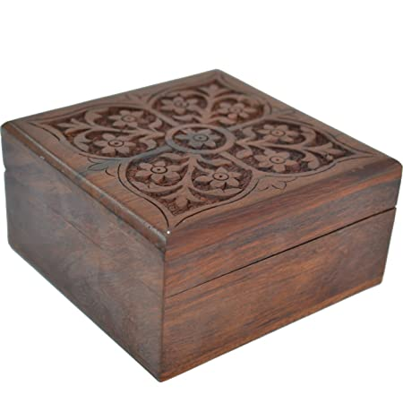 Raun harman wooden square gift box with intricate floral carving