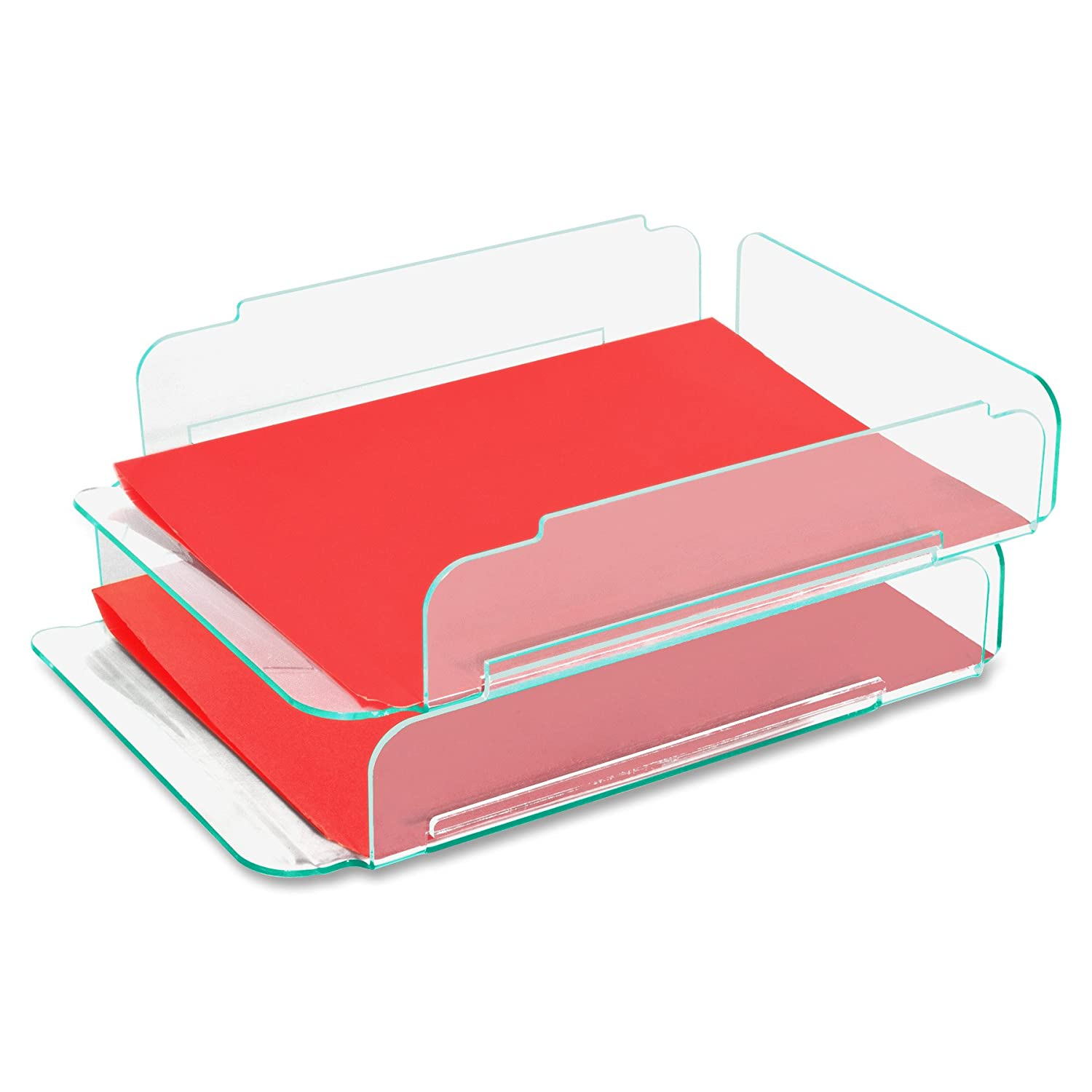 Amazon.com : Lorell LLR80655 Stacking Letter Tray, 2 per Pack, Clear ...