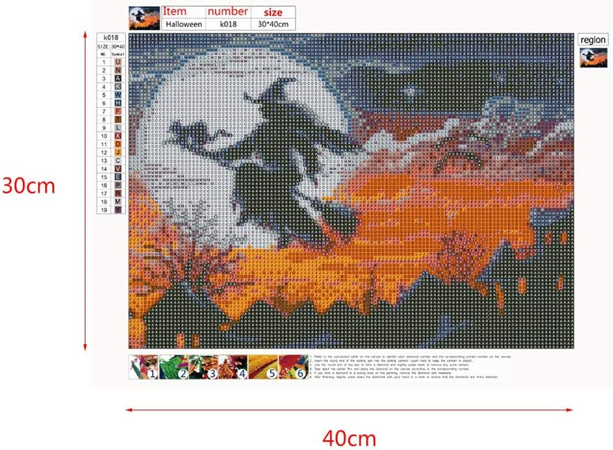 MIKI-Z Kit de Broderie Diamant pour Halloween Motif sorci/ère 5D