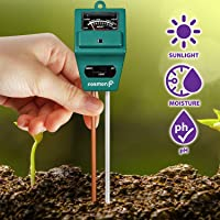 Fosmon Soil pH Tester - 3-in-1 Measure Soil pH Level, Moisture Content, Light Amount Soil Test Kit for Indoor Outdoor…