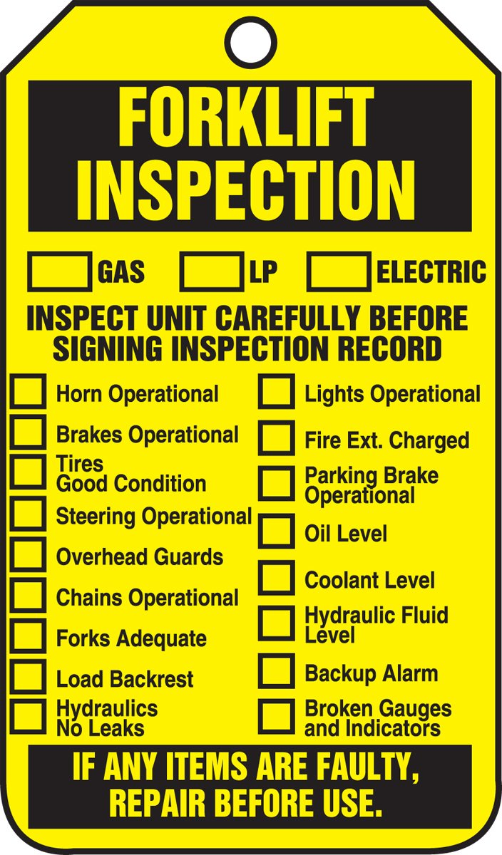 Accuform TRS305PTP Forklift Status Tag, Legend''Forklift Inspection (Checklist)/Forklift Inspection Record'', 5.75'' Length x 3.25'' Width x 0.015'' Thickness, RP-Plastic, Black on Yellow (Pack of 25)