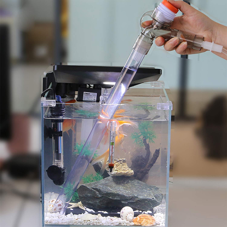 HINATAA Limpiador de Acuario, Potente Limpiador de Grava con botón de presión de Aire y Control de Flujo de Agua Ajustable, Apto para Cambio de Agua y ...