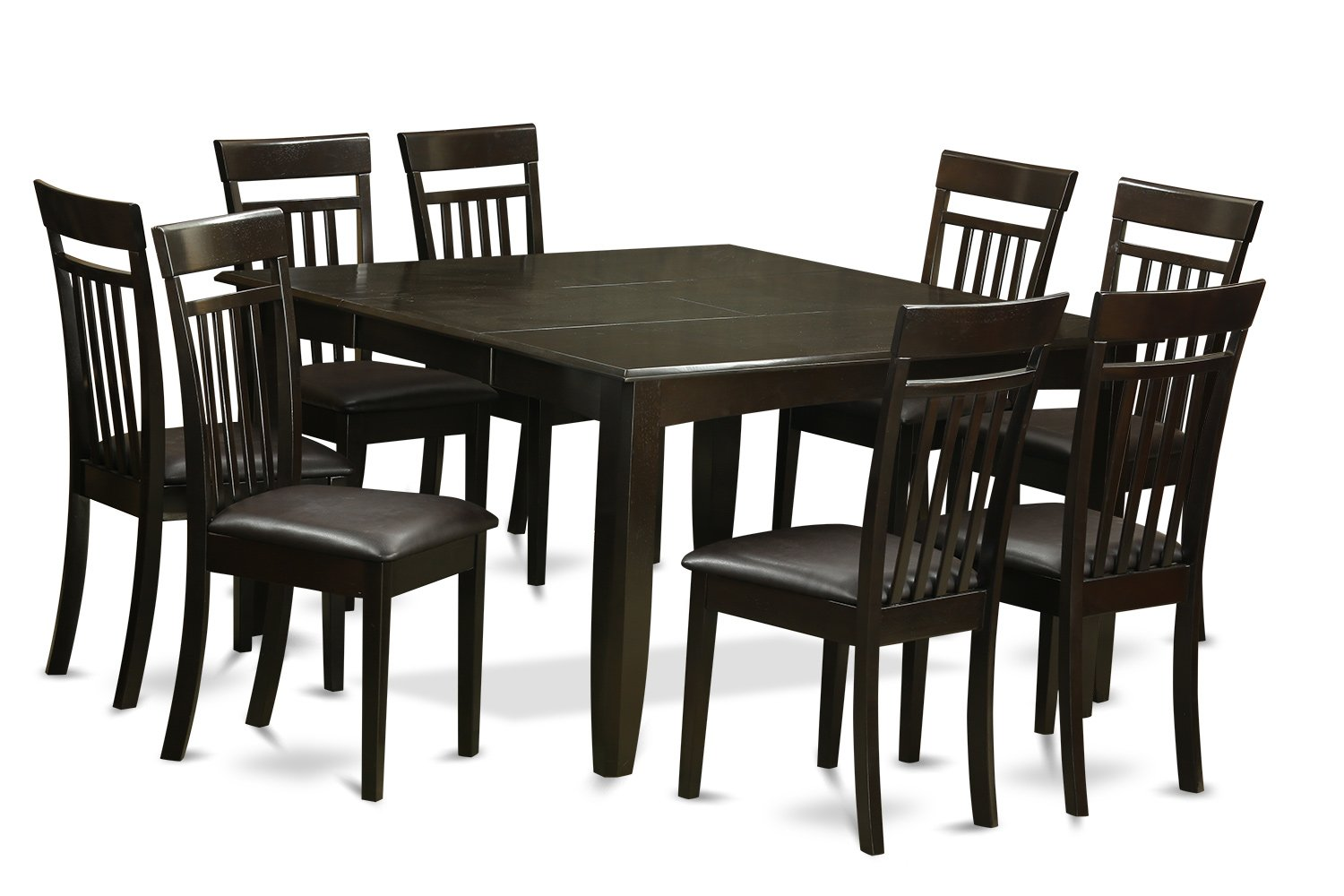 East West Furniture 9 Pc Dining room set-Table and 8 Kitchen Chairs, 9-piece, Cappuccino Finish by East West Furniture