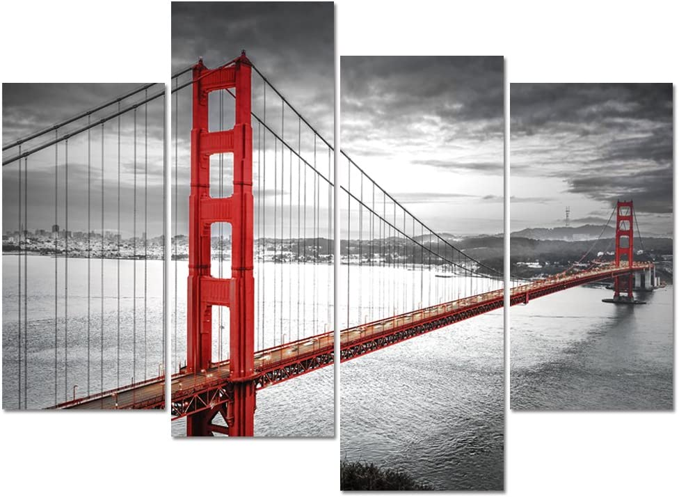 Visual Art Decor Black and White Living Room Decoration San Francisco Golden Gate Bridge Landscape Picture Printed on Canvas Framed Wall Decor Art Ready to Hang (01 4 Panels)