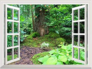 "Removable Wall Sticker/Wall Mural - Elf Treehouse in The Forest | Creative Window View Wall Decor - 36""x48"""