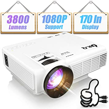 DR Q HI-04 Projector 1080P Full HD and 170'' Display Supported, 3800 Lumen  Video Projector Compatible with TV Stick PS4 XBOX HDMI VGA TF AV USB, Home
