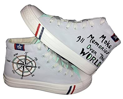 Funky n trendy world map with compass handpainted waterproof canvas funky n trendy world map with compass handpainted waterproff canvas casual shoes 2 gumiabroncs Images