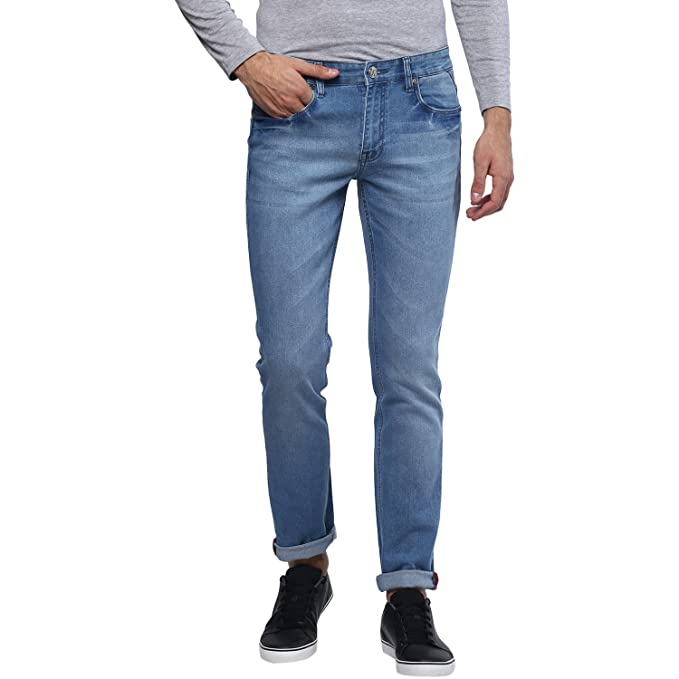 Urbano Fashion Men's Light Blue Stretchable Slim Fit Jeans Men's Jeans at amazon