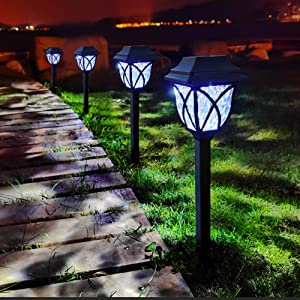 LAMTREE Solar Lights Outdoor Garden (Classic), 8 Packs LED Solar Landscape Path Lights Ground Stake Lights for Lawn Patio Yard Pathway Walkway Driveway Sideway (Cool White)