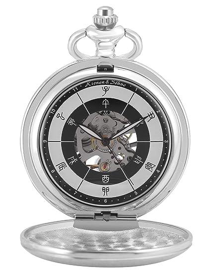 KS Reloj de Bolsillo Hombre con Cadena antiguos Steampunk Esqueleto Mecánico con Caja de Regalo color Plateado KSP086: Amazon.es: Relojes