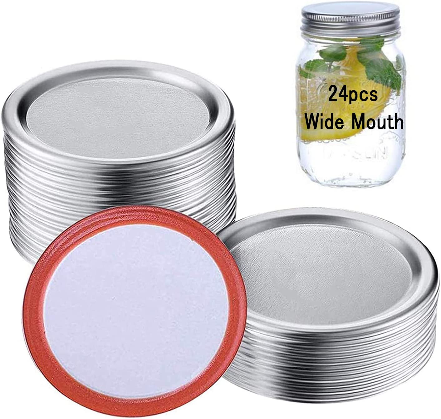 Wide Mouth Canning Lids - Canning Supplies, Split-Type Mason Jar Lids for Canning(Silver-only Lids 86mm, 24 Pack)