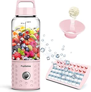 PopBabies Portable Personal Blender, Smoothie Blender for Shakes and Smoothies, USB Rechargeable Wireless Blender On the go Princess Pink