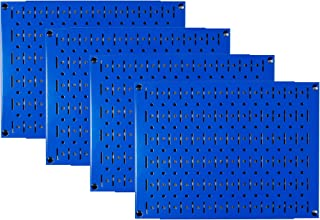product image for Pegboard Wall Organizer Tiles - Wall Control Modular Blue Metal Pegboard Tiling Set - Four 12-Inch Tall x 16-Inch Wide Peg Board Panel Wall Storage Tiles - Easy to Install (Blue)