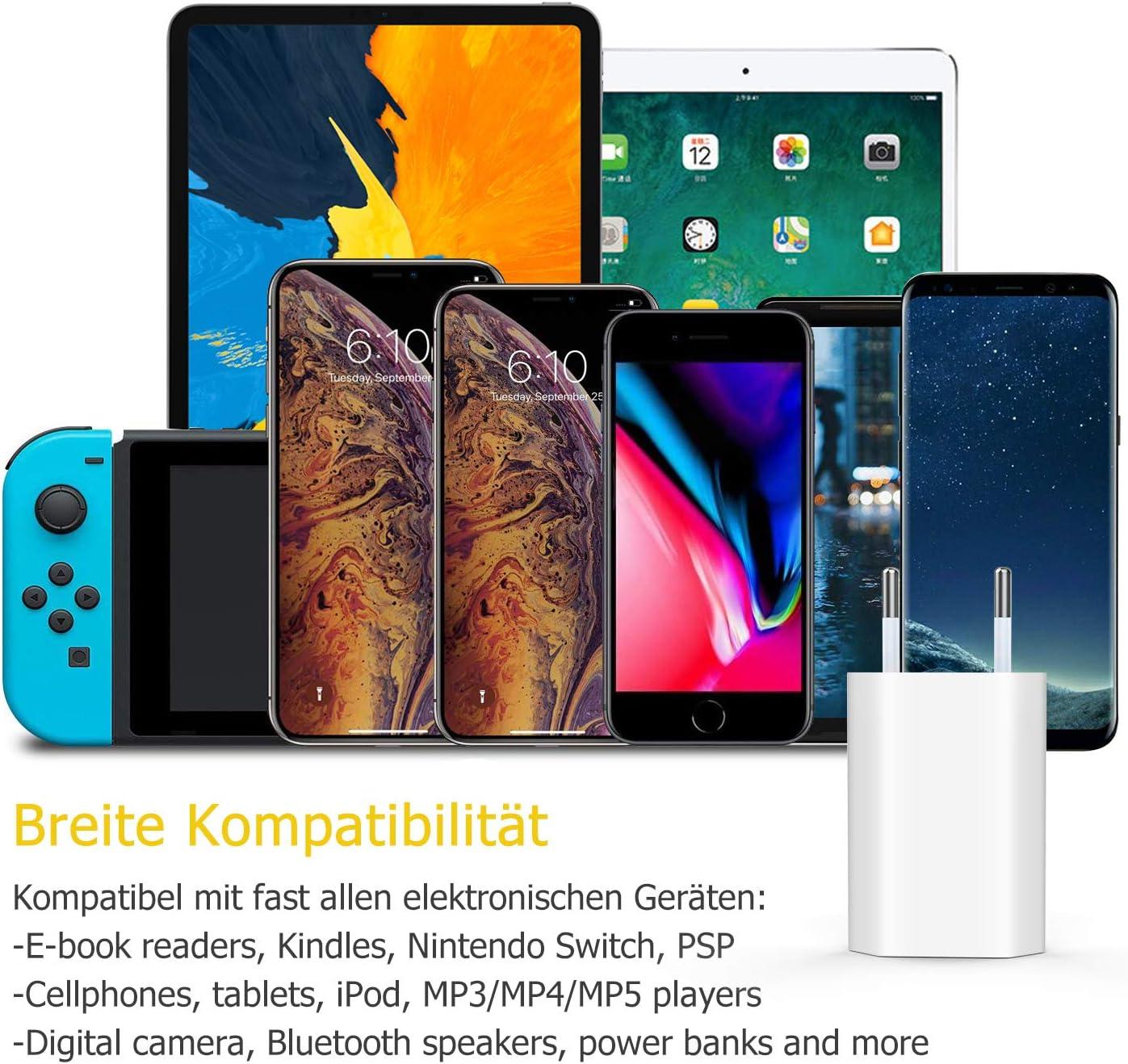 Everdigi USB Ladeger/ät+Ladekabel 1M f/ür Apple Kabel schnell USB Datenkabel//Netzteil//Ladeset f/ür iPhone XS XS Max XR X 8 8 Plus 7 7 Plus 6s 6s Plus 6 6 Plus SE 5s 5c 5 iPad