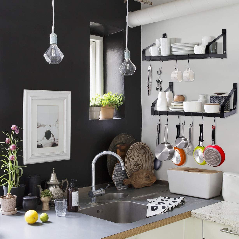 Love-KANKEI Pot Rack Wall Mounted Set of 2 Pan Pot Organizer Wall Shelves with 16 Hooks for Kitchen Cookware Utensils Organization Black: Home & Kitchen