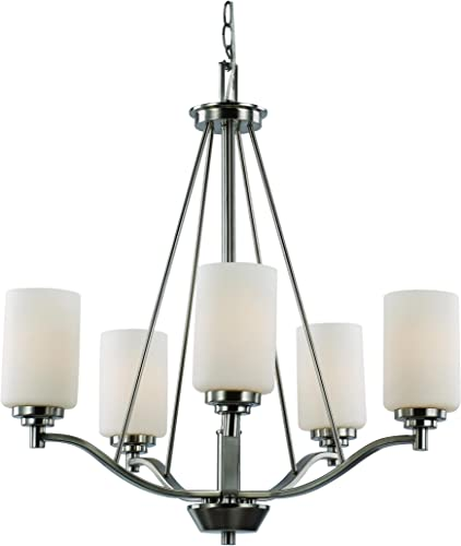 Trans Globe Lighting Trans Globe Imports 70525 BN Transitional Five Light Chandelier from Mod Pod Collection in Pwt, Nckl, B S, Slvr. Finish, 25.00 inches, Brushed Nickel