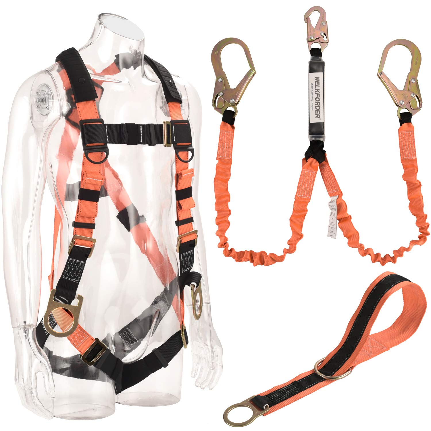 WELKFORDER 3D-Rings Industrial Fall Protection Safety Harness Kit With Double Leg 6-Foot Shock Absorber Stretch Lanyard | 4-Foot Anchor ANSI Compliant Personal Fall Arrest System(PFAS)