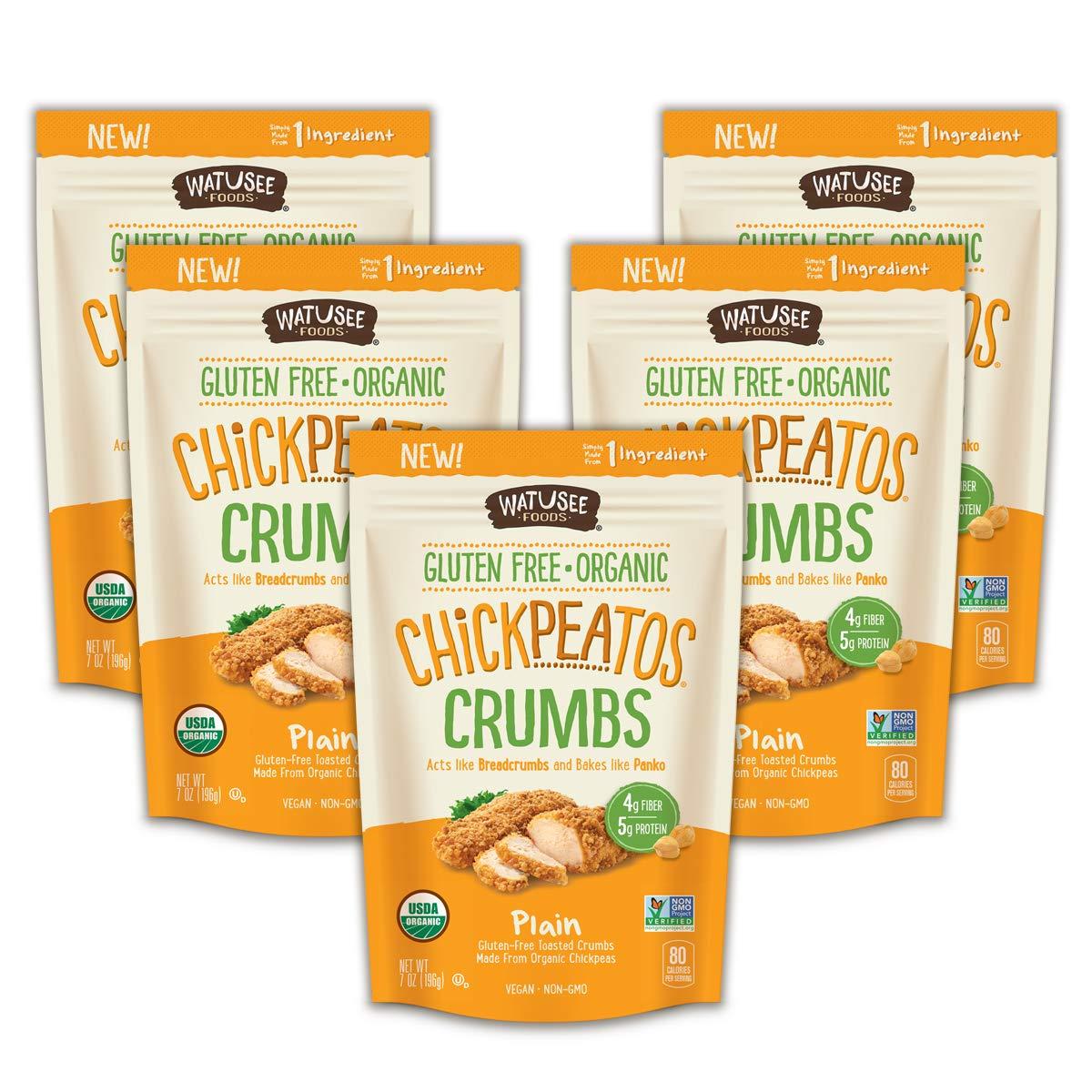 WATUSEE FOODS Organic Chickpea Crumbs Vegan Chickpea Breadcrumb 6 Pack 7 oz. Bag Gluten Free, Crunchy Panko Alternative Plain by Watusee Foods