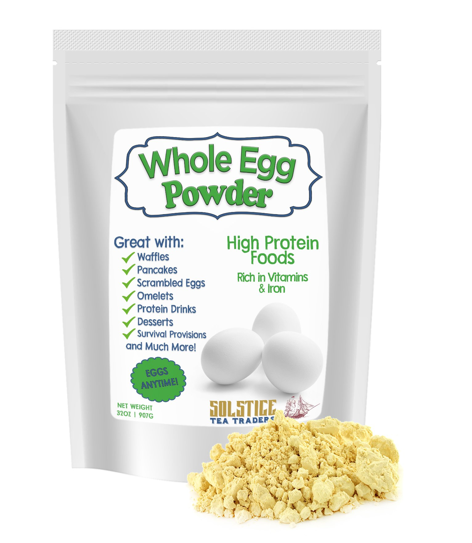 Powdered Whole Dried Eggs, Whole Dehydrated Egg Powder (2 pounds), For Scrambled Eggs, Baking Mixes, Camping & More by Solstice Tea Traders
