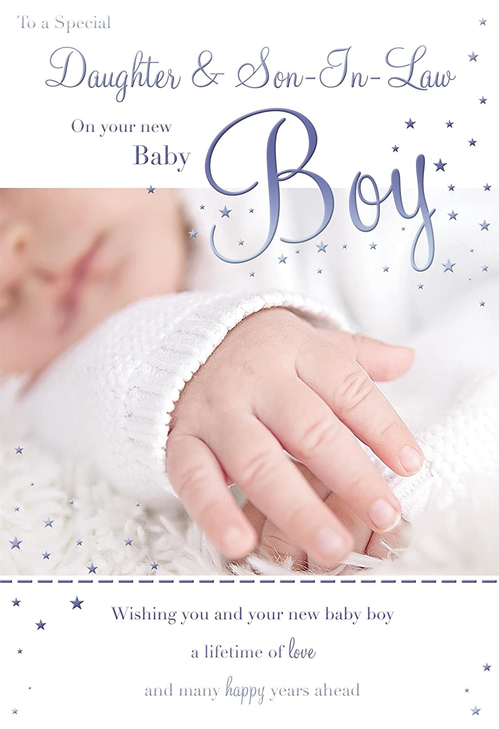 To A Special Daughter & Son-In-Law On The Birth Of Your Baby Boy Feet Design Male Boy Birth New Baby Greeting Card