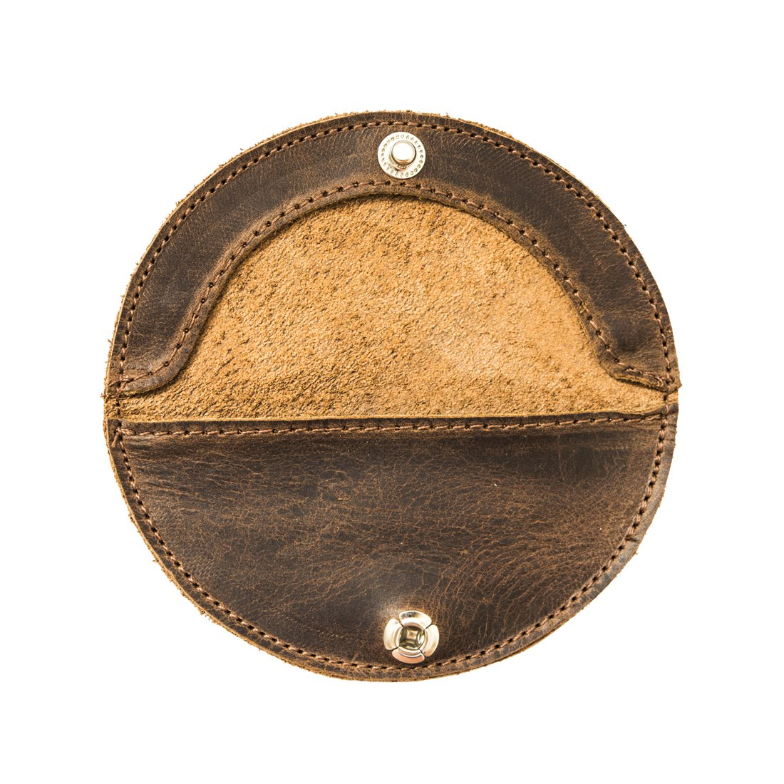 Hide & Drink Rustic Leather Moon Coin Case Handmade by Bourbon Brown