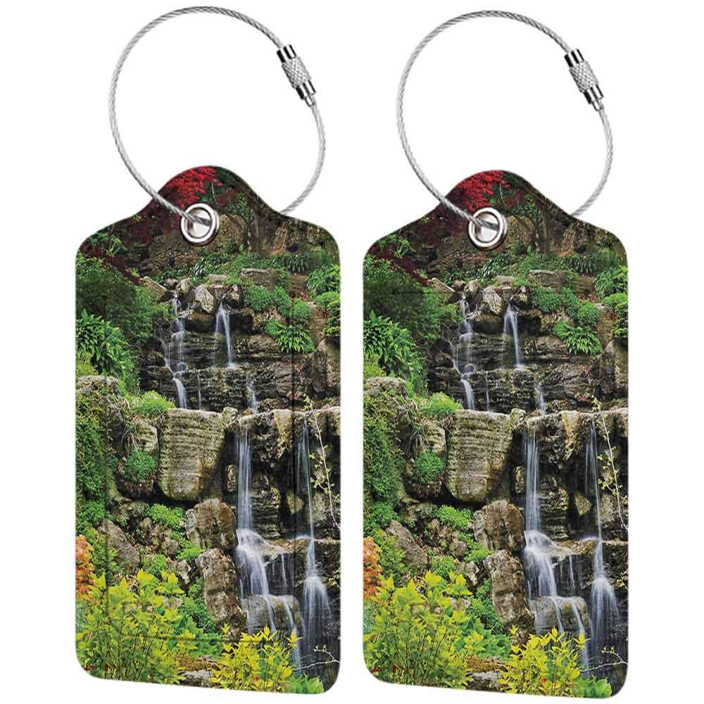 Small luggage tag Japanese Decor Collection Cascading Waterfall in Japanese Garden Spring Time with Other Fresh Plants Calm Scenery Quickly find the suitcase Green Grey W2.7 x L4.6