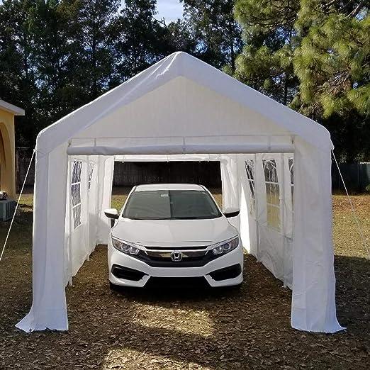 Peaktop® 20 x10 Heavy Duty Portable CarPort Garaje coche Refugio Toldo carpa para fiestas Paredes con ventanas, color blanco: Amazon.es: Jardín