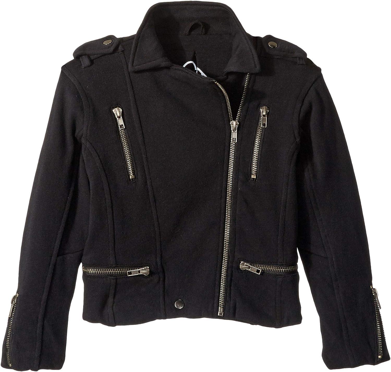 Chaser Kids Womens Super Soft Cotton Fleece Moto Jacket w/Zipper Details (Toddler/Little Kids)