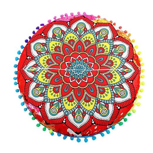 Funda Cojines, Xinan Cojines redondos de Bohemian Cushion Indian Mandala Floor Pillows 43 * 43cm (C)